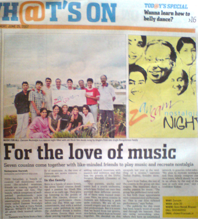 Mid-Day features Zansam's maiden concert in the news